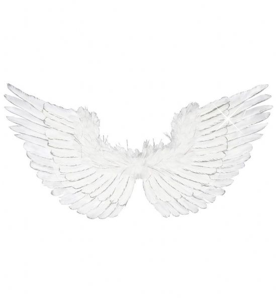 White Feathered Wings with Silver Glitter 86x42 Christmas Fancy Dress